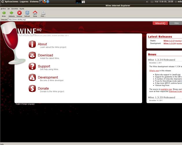 Imagen de IExplorer4Linux - wine-Ubuntu